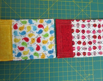 Kids Mug Rug Coasters/Snack Mat Reversible - Birds / Lady Bugs Design, set of 2