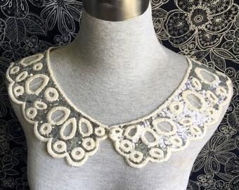 Collar Applique - 1 pcs Silver Sequin Applique for Altered Couture, Costume Design(A405)