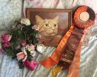 Vintage CFA CAT Show Satin Ribbon Rosette Award Best Cat   San Jose Orange Peach Brown Tassel