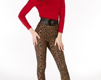Bronze Leopard Cigarette Pants