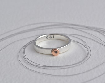 Silver and Rose Gold Personalised message Ring