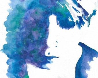 Girl in Blues and Greens Watercolor Print