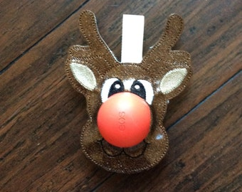 EOS Reindeer Lip Balm Holder, Key Chain, Chap stick Holder
