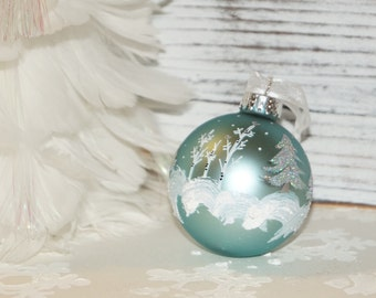 Limited Quantity! Retiring this Color, Green Christmas Ornament, Silver Cardinals Perch on Aspen Trees, Silver Glitter Pines N Falling Snow