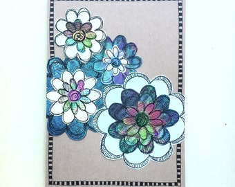 Paper Flower Garden series 1 - 5x7 (PFGL-0012) - Handmade Blank Card