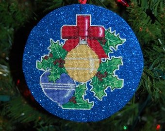 Ornaments and Holly Cross Stitch Christmasn Ornament