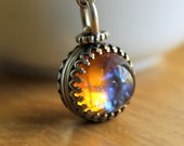 Mysterious Little Fob Necklace - Very Cool Old Vintage Glass Stones - Looks Like Tiny Galaxies - Spinning Y Necklace