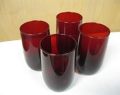 Royal Ruby Red Glassware Set of Four Dainty Size 4 1/2 Inch Tall Drinking Glasses Very Good Condition Ready For Your Valentine's Day Drink