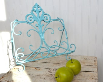 Shabby Style Metal Cookbook Book Tablet Stand iPad Kitchen Office Aqua turquoise