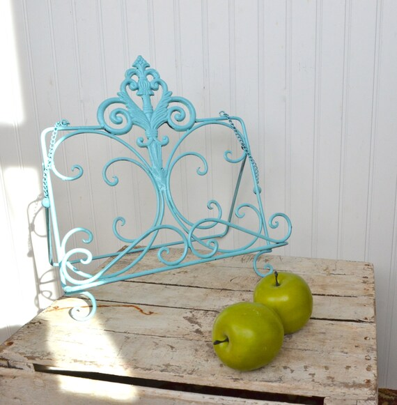 shabby style metal cookbook book tablet stand ipad kitchen. Black Bedroom Furniture Sets. Home Design Ideas