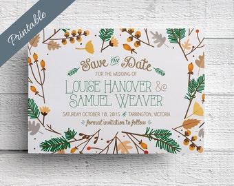 Fall Wedding Save the Date Printable