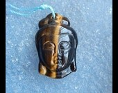 Carved Tiger'eye Buddha Head Pendant Bead,28x17x8mm,5.46g
