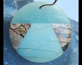 Picture Jasper,Amazonite ,White Stone Intarsia Pendant Bead,Large Pendant,50x9mm,42.44g