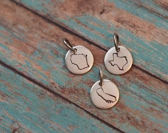 State Jewelry, Your Choice of State, Custom, Stamped State Necklace, State Necklace, State Charm, Personalized State Jewelry
