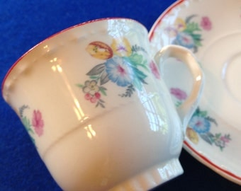 Vintage Tea cup , Crooksville China, demitasse cup and saucer, cup and saucer