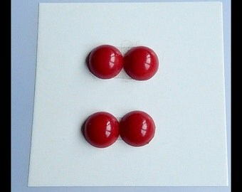 SALE,2 Pairs Bamboo Coral Cabochons,7x4mm,1.8g