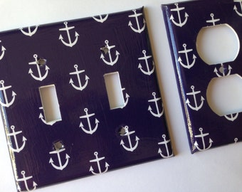 Anchor Light Switch Plate Cover/ Blue Nautical Anchors Double Switch Plate / Nautical Switch Plate / Nautical Nursery Decor/ Navy Nursery