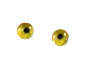 Small 6mm Glass Flamingo Eyes for Dolls Taxidermy or Jewelry Making Pair of 2 Cabochons Flatback Eyeballs for Polymer Clay Sculptur