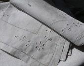 Vintage linen napkin, glass mat, welsh, floral, flower, 1930s,  handmade, embroidered, French vintage finds