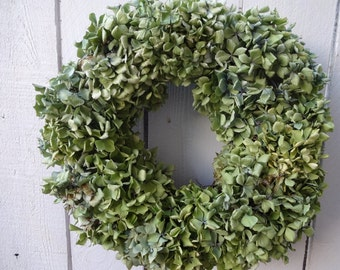 Hydrangea Wreath  Dried Hydrangeas  Natural Wreath  Green Wreath  Home Decor  Shabby Chic  Wall Decoration