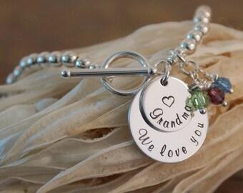 We love you Grandma Bracelet - Hand Stamped Personalized Bracelet - Sterling Silver, 14K Gold Filled or 14K Rose Gold Filled