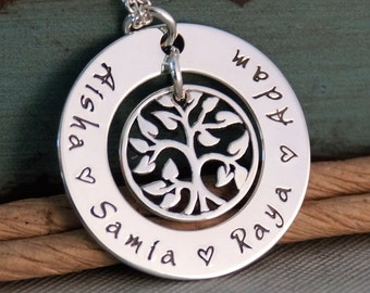 Hand Stamped Mommy Necklace - Personalized Jewelry - Sterling Silver Family Tree Necklace - My Family (Small Washer)