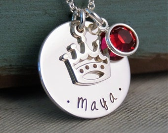 Princess Necklace - Hand Stamped Necklace - Personalized Jewelry - Sterling Silver Jewelry