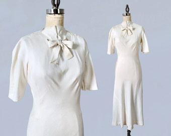 Rare!!! MADELEINE VIONNET Designer 1930s Dress / 30s Cream Day Dress/ Iconic Bias Cut / Amazing Construction
