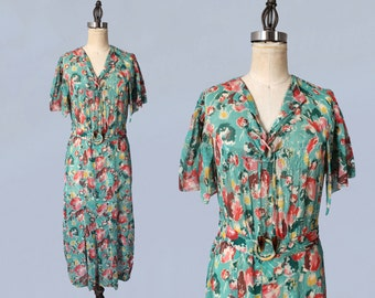 RESERVED 1930s Dress / 30s Floral Cotton Day Dress / LACE UP Bodice / Amber Glass Tassel Ends / Capelet Sleeves