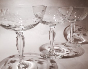 6 Cut Glass Champagne Coupes