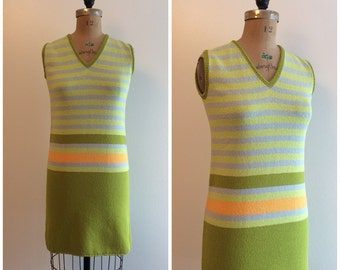 1960s St. John Knits Stripe Mini Dress Vintage 60s