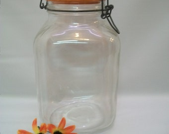 large vintage glass jar with metal latch large jar italy made glass jar - Large Glass Jars