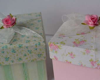 Pink or blue w/ rose Party favor box, comes ready to fill