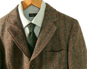 Mens Vintage 1960s Harris Tweed Sport Coat. Swelled Edge Ivy Style Tweed Jacket. Made in England. 36 37