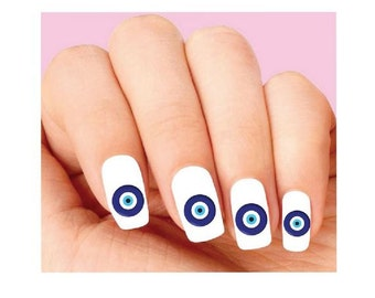 Waterslide Nail Decals Set of 20 - Blue Evil Eye