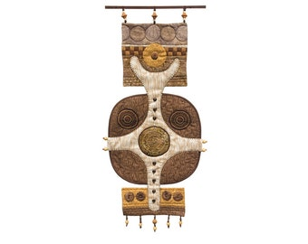 """MOONSHINE - Quilted Tribal Mask  Wall Hanging -11"""" W x 25"""" H"""