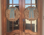 Rustic Double Door Wreaths, French Country Decor, Front Door Wreath for Spring French Door Wreaths, Burlap Wreath, Long Bow Wreath