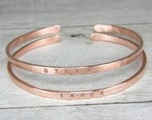 Name Bangle, Personalized 10 Gauge Hammered Bare Copper Bracelet, Bare Copper Mens or Womens Stacking Bangle