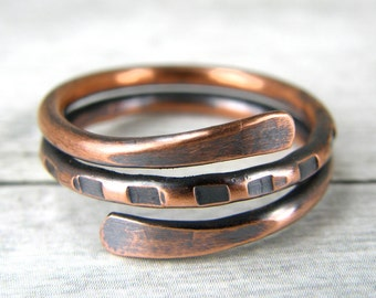 Antiqued Copper Ring, Boho Copper Ring, 12 Gauge Copper Wire Ring, Made to Order Ring