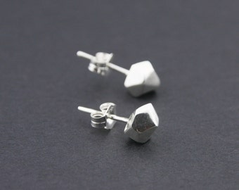 Faceted Stud Earrings: Sterling Silver