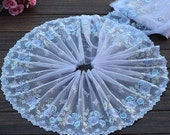 2 Yards Lace Trim Exquisite Light Blue Flowers Embroidered Tulle Lace 7.48 Inches Wide High Quality