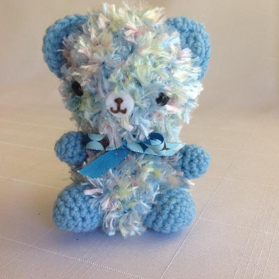 Amigurumi Baby Safe Eyes : Amigurumi blue bear. Crochet toy bear. Child safe eyes. Fluffy
