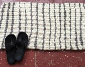 Hand Woven Natural Fiber Rug, Soft and Lofty Mohair, Rectangular Rug, Handmade, Luxury Rug, Bath Mat, Pet Bed, Photo Prop, Prayer Mat