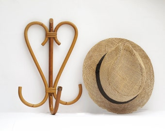 Authentic French Vintage Rattan Bamboo Coat Rack 1960s,Heart shaped, French Riviera Coat Hook Hat Rack