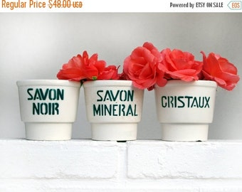 Set of 3 Vintage French ceramic pots Laundry Products, or Planters