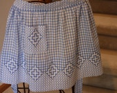 Light Blue, Gingham, Apron, Embroidered