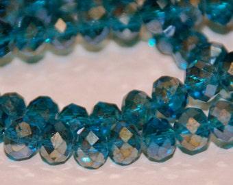 20 pcs 6x4mm Transparent Dark Blue Green Dark Teal AB Rondelle Crystals
