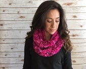 Bright Pink Infinity Scarf, Shades of Pink Hand Dyed Pure Merino Circle Scarf,  Ladies Winter Fashion Accessories