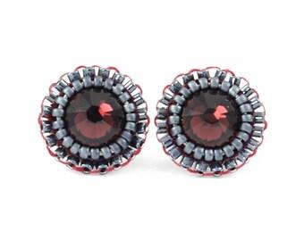 Burgundy stud earrings | maroon stud earrings | gray burgundy tiny stud earrings | swarovski rhinestone bridesmaid earrings | unique gift