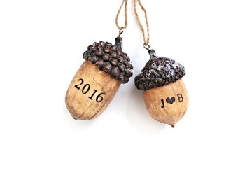 Acorn Ornament . fall wedding favors . wedding favors rustic . christmas ornaments handmade . newlywed christmas ornament